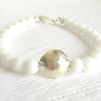 White Jade Beaded Bracelet with Karen Hill Tribe Silver, Elegant Simplistic White Jade Bracelet, Wedding Jewelry,snow white,on trend fashion