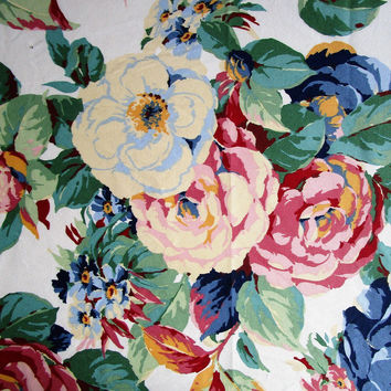 Vintage Kenmill Fabric 1988 Floral Roses Pink Blue Green Home Décor Material Supplies