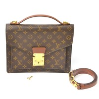 Authentic Louis Vuitton Monogram Satchel Hand Bag Shoulder Monceau Brown Gold LV