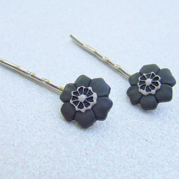 Grey Flower Bobby Pins - Muted Color Flowers - Grey Bridesmaid Gift - Bridesmaid Jewelry - Hair Clip Ons - Hair Accessories