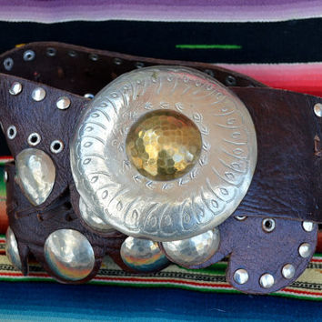Vintage 80's Moroccan Etched Silver & Brass and Brown Leather Gypsy Belt