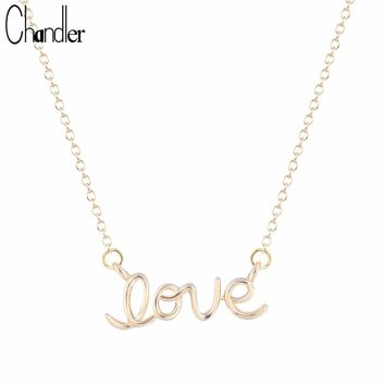 Chandler Silver Love Word Cursive Letter Love Pendant Necklaces For Women Love Heart Romantic Chokers Vanlentine Days Gifts
