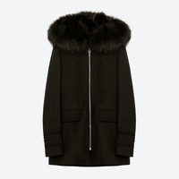 DUFFLE COAT WITH FAUX FUR HOOD DETAILS