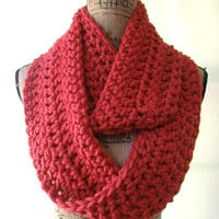 Ready To Ship True Red Chunky Scarf Fall Winter Women's Accessory Infinity