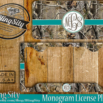 Turquoise Camo Monogram License Plate Frame Holder Metal Wall Sign Car Truck Front Tags Personalized Custom Vanity RealTree Camo