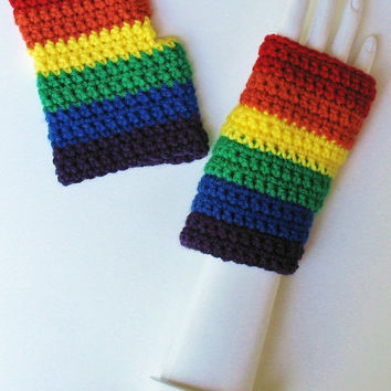 Crocheted Rainbow Wristwarmers, LGBT, Gay Pride, Great for Parades, Marches, Rallies, Dances, Festivals, Concerts, Ready to Ship