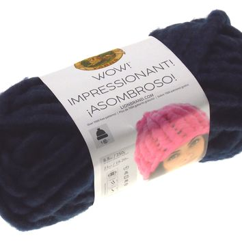 Lion Brand Yarns Wow In The Navy Skein Ball Acrylic Wool Knit Crocheting Jumbo
