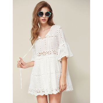 Tie Neck Fluted Sleeve Eyelet Embroidered Smock Dress White