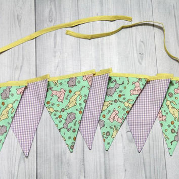Easter Rabbit and Lavender Gingham 7 Pennant Banner. Bunting flags. Baby Room Decor, Birthday, Baby Shower, Wedding. Photo Prop.