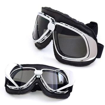 Aviator Goggles, Silver Motorcycle Pilot Glasses, Goggles For Harley, Cruiser Scooter Biker