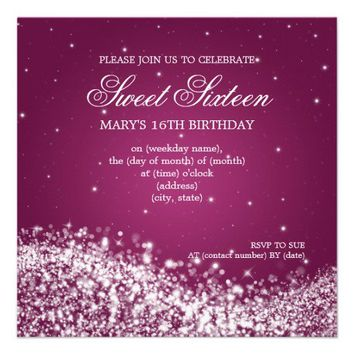 Sweet Sixteen Party Sparkling Wave Pink Custom Invitation from Zazzle.com