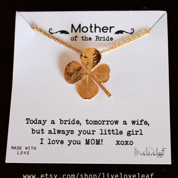 Mother of the bride gift - Gold four leaf clover necklace, Mother of Groom, bridal party bridesmaids Stocking Stuffer shamrock 4-leaf clover