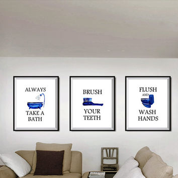 Set of 3, kids bathroom prints, Printable Wall Art, Blue bathroom decals, beach theme baby boy bathrooms, good toilet etiquette for nursery