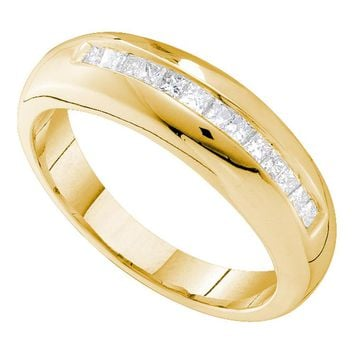 14kt Yellow Gold Mens Princess Channel-set Diamond Wedding Band Ring 1/2 Cttw