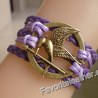 The Hunger Games - Mockingjay inspiration unique silver bracelets, jewelry games, cool, dark purple leather strap, fashion jewelry