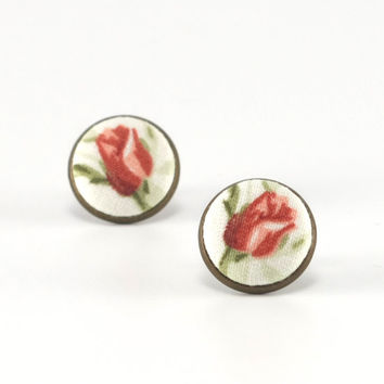 Stud Earrings - Red Rosebuds Earring Studs - Red and Green Flowers on White - Shabby Romantic Chic Fabric Buttons Jewelry - Antique Posts