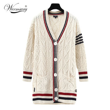 Fall Winter women twisted rhombus medium-long knitted sweater coat V-neck loose preppy style coarse wool knit cardigan WS-141