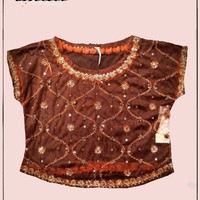 Free People -  copper mesh top with sequins -  size S