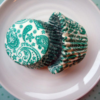 Teal Green Paisley Cupcake Liners - Baking Cups (50)
