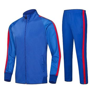 Mens Casual Sweatshirt Sweatpants Sports Football Stitching Color Quick-dry Sportwear Suit