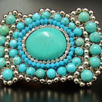 Balance Reserved for Stephanie - Turquoise & Coral Square Belt  Buckle - Native American Inspired Buckles by Sharona Nissan (made to order)