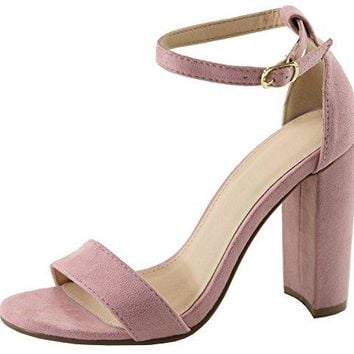 Cambridge Select Womens Open Toe Single Band Buckle Ankle Strappy Chunky Wrapped Block High Heel Sandal