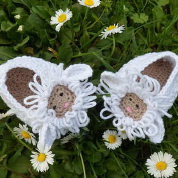 Baby Lamb Crochet Shoes Pattern