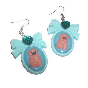 Cute Pug Cameo Earrings, Dog,  Kawaii Animal, Pastel Mint Green Dangle Earrings