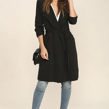 City Sleek Black Trench Coat