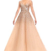 Carolina Herrera Sequined Illusion Tulle Ball Gown, Champagne