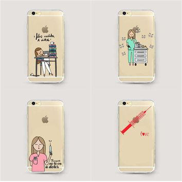 Cartoon Clear Nurse Doctor Dentist Soft silicone Phone Case For iPhone X 5 5S SE 6 6S Plus 7 7Plus 8 8Plus Cover