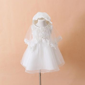 Baby Girls Christening or Baptism Gown, Shawl, and Bonnet 3 pc. Set