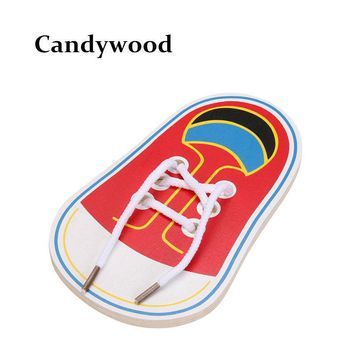 New Arrival Kids Montessori Educational Toys Children Wooden Toys Toddler Lacing Shoes