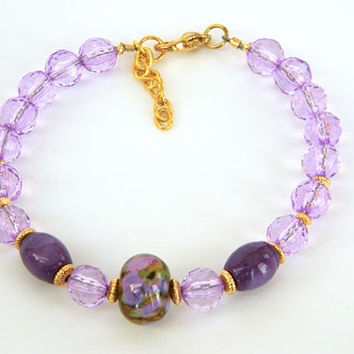 Purple Beaded Bracelet Handcrafted Flower Lampwork Gold Adjustable
