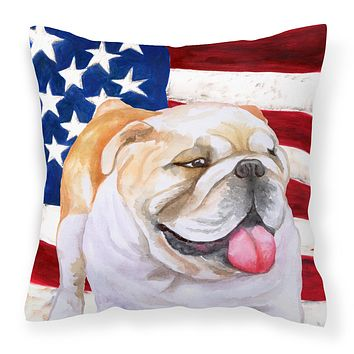 English Bulldog Patriotic Fabric Decorative Pillow BB9639PW1818