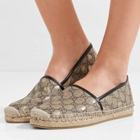 GUCCI Leather-trimmed printed coated-canvas espadrilles