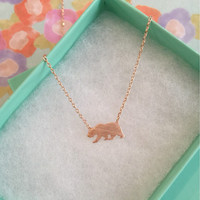 SALE-Rose Gold California State Bear Dainty Necklace, Women's Necklace, Danity Necklace, Minimalist Necklace, Bridesmaid Gift, BEST SELLER