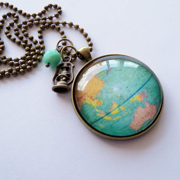 Large Globe Necklace - Map Pendant Necklace - World Map - Adoption Jewelry - Travel Necklace - You Choose Bead and Charm - Customizable