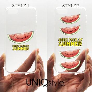 Watermelon transparent clear case for iPhone 4/4s 5/5s 5c Samsung Note3 / S4 / S5, summer plastic case with tpu edge w/extra protection, W07
