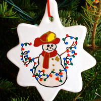 Fireman Snowman With Lights Christmas Ornament