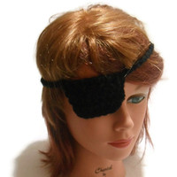 Crochet Pirate Bandana Beanie Hat in Red Black Eye Patch Set