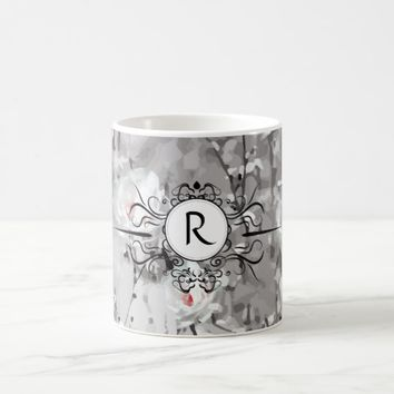 Ice rose print monogram mug