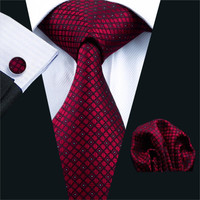 Men Tie Red Plaid Silk Jacquard Neck tie Tie Hanky Cuff links Set Ties For Men Business Wedding Party
