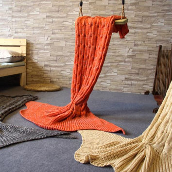 Knitted Mermaid Sofa Blanket Christmas Gift Autumn&Winter Orange