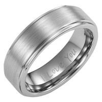 Willis Judd Mens 7mm Brushed Ring Engraved I Love You In Gift Box