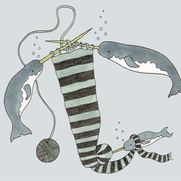Knitting Narwhals 8x10 print by sadlyharmless on Etsy