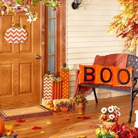 Harvest & Halloween Decor Pillows Door Hanger Wooden Pumpkins
