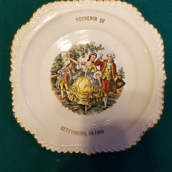 Harker Pottery Co. Godey Courtship Plate 22 kt gold Gettysburg, Pa 1863
