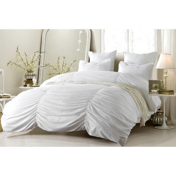Ruched Design White Duvet Cover Set Style # 1005 - Cherry Hill Collection in Twin/Twin XL Size