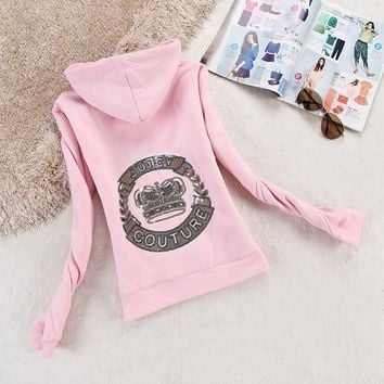 Juicy Couture Logo Crown Velour Jacket 2198 Women Hoody Pink - Ready Stock